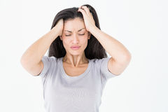 Brunette suffering from migraine Royalty Free Stock Photos