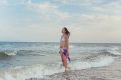 Brunette sulla spiaggia Immagine Stock