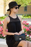 Brunette summer fashion beauty outdoors. Royalty Free Stock Photos