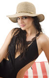 Brunette with summer hat Royalty Free Stock Photo