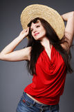 Brunette with summer hat. Stock Photography