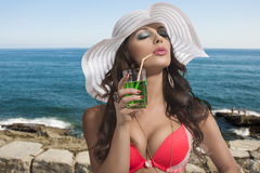 Brunette with summer hat taking sun Royalty Free Stock Photos