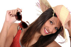 Brunette with sunglasses, Royalty Free Stock Photos