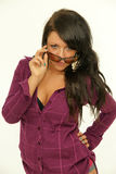 Brunette with sunglasses Royalty Free Stock Photography