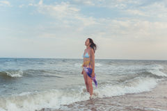 Brunette sur la plage Image stock