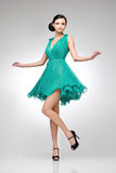Brunette in teal dress Stock Image
