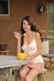 Brunette Teen Eating Healthy Snack Stock Images