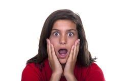 Brunette teen girl afraid Stock Photography