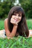 Brunette teen girl on nature. Brunette teen girl on the nature Stock Photography