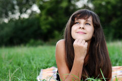 Brunette teen girl on nature Royalty Free Stock Photography