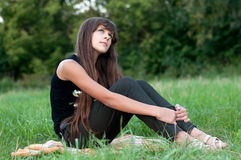 Brunette teen girl on nature. Brunette teen girl on the nature Royalty Free Stock Photo