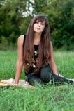 Brunette teen girl on nature. Brunette teen girl on the nature Royalty Free Stock Images