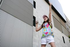 Brunette teen little girl dancing mp3 Royalty Free Stock Image