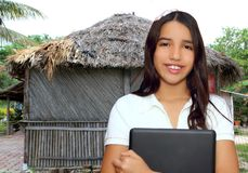 Brunette teen student indian latin holding laptop Royalty Free Stock Photo
