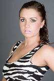 Brunette Teen in Zebra Print Dress Stock Photography