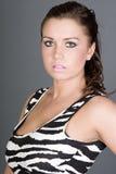 Brunette Teen in Zebra Print Dress Stock Photography