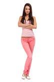 Brunette teenager posing on white background Stock Photos