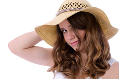 Teenager in straw hat Royalty Free Stock Images