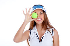 Brunette tennis girl white dress and sun visor cap. Brunette tennis girl with white dress and sun visor cap with green ball Royalty Free Stock Image