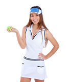 Brunette tennis girl white dress and sun visor cap. Brunette tennis girl with white dress and sun visor cap with green ball Royalty Free Stock Photo