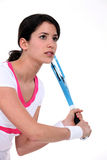 Brunette tennis player Stock Photography