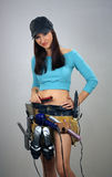 Brunette with Toolbelt of Feminine Items (2) Royalty Free Stock Photos