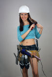 Brunette with Toolbelt of Feminine Items (3) Stock Image