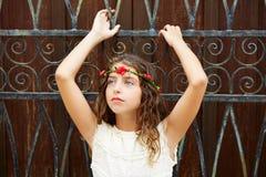 Brunette tourist kid girl in mediterranean old town Royalty Free Stock Image