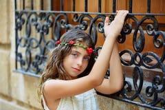 Brunette tourist kid girl in mediterranean old town Royalty Free Stock Photos