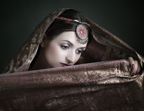 brunette with traditional costume stock photo