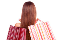 Brunette with two shopping bags Stock Photos