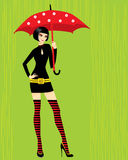 Brunette with umbrella. Vector illustration Royalty Free Stock Photography