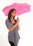 Brunette with umbrella Royalty Free Stock Photography