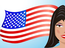 Brunette and USA flag Stock Images