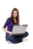 Brunette using laptop Stock Photos