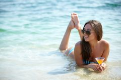 Brunette on vacation Royalty Free Stock Image