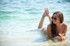 Brunette on vacation Royalty Free Stock Images