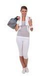 Brunette vestido no sportswear foto de stock royalty free