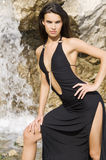 Brunette in waterfall Stock Photos