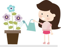 Brunette Watering Flowers. Illustration of a cute brunette girl watering flowers Vector Illustration