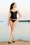 Brunette wearing black panties Stock Photo