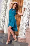 Brunette wearing dress and shoes Royalty Free Stock Photography