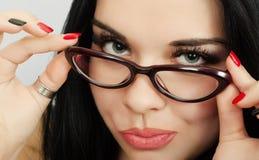 Brunette wearing glasses stock photos