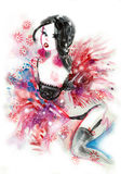 Brunette wearing sexy lingerie watercolor Royalty Free Stock Images