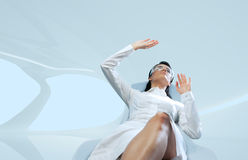 Brunette wearing white suit interface template stock images