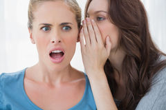 Brunette whispering secret to her friend Royalty Free Stock Images