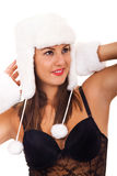 Brunette with white fur hat Royalty Free Stock Photography
