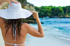 Brunette in white hat Stock Photography