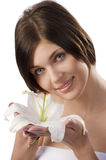 Brunette with white lily Royalty Free Stock Photo