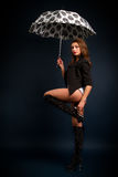 Brunette with a white umbrella royalty free stock photo